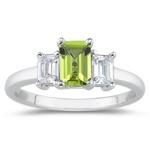 0.33 Cts Diamond & 3.60 Cts  Peridot Three Stone Ring in Platinum