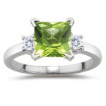 0.10 Cts Diamond & 0.71 Cts Peridot Ring in 14K White Gold