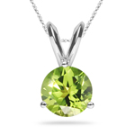 2.80-3.01 Cts of 9 mm AAA Round Peridot Solitaire Pendant in 18K White Gold