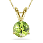 2.80-3.01 Cts of 9 mm AAA Round Peridot Solitaire Pendant in 18K Yellow Gold