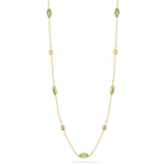 3.70 Cts Peridot & Citrine by the Yard Necklace in 14K Yellow Gold