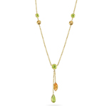 2.06 Cts Peridot & 0.90 Cts Citrine Necklace in 14K Yellow Gold