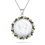 1.50 Cts Peridot & 1.50 Cts Garnet Cameo Pendant in Silver