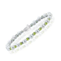 4.00-4.50 Cts Peridot & Akoya Cultured Pearl Bracelet in 14K White Gold