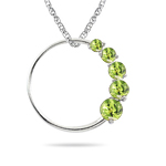 0.50 Cts AA Round Peridot Journey Circle Pendant in 14K White Gold