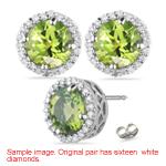 0.24 Cts Diamond & 1.11 Cts Peridot Earrings in Platinum
