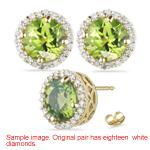 0.27 Cts Diamond & 1.88 Cts Peridot Earrings in 14K Yellow Gold