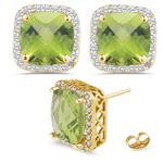 0.36 Cts Diamond & 4.30 Cts Peridot Earrings in 14K Yellow Gold
