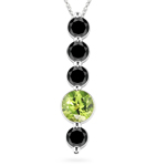 1.90 Ct Black Diamond & Peridot Five Stone Pendant in 14K White Gold