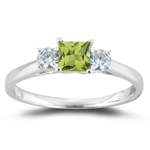 0.24 Cts Diamond & 0.50 Cts Peridot Three Stone Ring in 18K White Gold