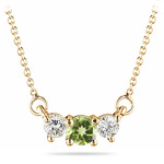 0.50 Cts Diamond & Peridot Three Stone Pendant in 18K Yellow Gold