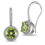 0.26 Cts Diamond & 2.70 Cts Peridot Earrings in 14K White Gold