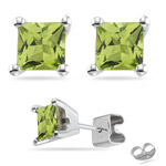 1.46-1.55 Ct 5 mm AA Princess Peridot Stud Earrings in 14K White Gold