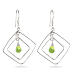 Peridot Briolette Earrings in Sterling Silver