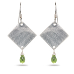 1.50 Cts Peridot Diamond-Shaped Earrings in Sterling Silver