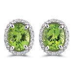 0.37 Cts Diamond & 5.05 Cts Peridot Earrings in 14K White Gold