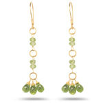 4.60 Cts Peridot Briolette Earrings in 18K Yellow Gold