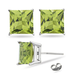 3.20 Cts Princess Peridot Stud Earrings in 14K White Gold