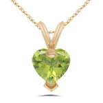 0.80 Cts of 6 mm AA Heart Peridot Heart Shape Pendant in 14K Yellow Gold