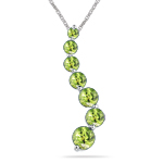1.20 Cts Peridot Journey Pendant in 14K White Gold