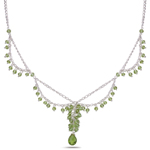 13.00 Cts Peridot Necklace in Sterling Silver