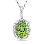 0.22 Cts Diamond & 2.50 Cts Peridot Pendant in 14K White Gold