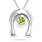 0.20 Cts of 4 mm AA Round Peridot Horse Shoe Solitaire Pendant in Silver