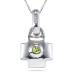 0.14 Cts Peridot Solitaire Lock Pendant in Silver