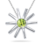 0.20 Cts Peridot Solitaire Star Pendant in Silver