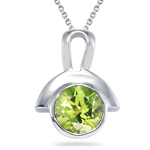 1.00 Ct of 6 mm AA Round Peridot Solitaire Pendant Bezel-set in Silver