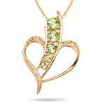 0.02 Cts Diamond & 0.62 Cts Peridot Journey Pendant in 14K Yellow Gold