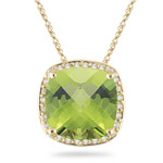0.16 Cts Diamond & 4.00 Cts Peridot Pendant in 14K Yellow Gold