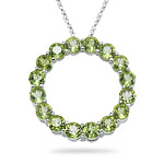 5.71-5.80 Cts Peridot Circle Pendant in 14K White Gold