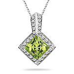 0.15 Cts Diamond & 0.85 Cts Peridot Pendant in 14K White Gold