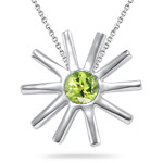 0.20 Cts of 4 mm AA Round Peridot Solitaire Pendant in Silver