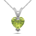 0.80 Cts of 6 mm AA Heart Peridot Solitaire Pendant in 14K White Gold