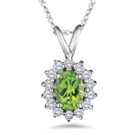 0.28 Cts Diamond & 0.85 Cts Peridot Pendant in 18K White Gold
