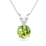 0.59-0.64 Cts of 5 mm AAA Round Peridot Solitaire Pendant in 14K White Gold