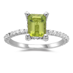 0.50 Cts Diamond & 1.60 Cts Emerald Peridot Ring in 14K White Gold