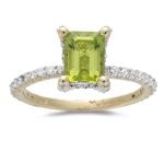 0.50 Cts Diamond & 1.60 Cts Emerald Peridot Ring in 14K Yellow Gold