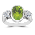 0.12 Cts Diamond & 2.75 Cts Peridot Ring in 14K White Gold