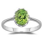 1.50 Cts of 10x8 mm AA Oval Peridot Solitaire Ring in 14K White Gold