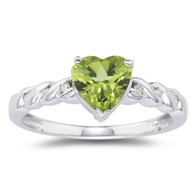 0.03 Ct Diamond & 1.24 Cts AAA Heart-Shaped Peridot Ring in 14K White Gold