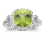 0.50 Cts Diamond & 4.17 Cts Peridot Ring in 14K White Gold