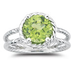 2.22 Cts of 8 mm AA Round Peridot Solitaire Ring in 14K White Gold