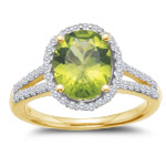 0.53 Cts Diamond & 2.15-2.68 Cts Peridot Ring in 14K Yellow Gold