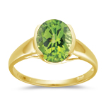 2.50 Cts of 10x8 mm AA Oval Peridot Ring in 14K Yellow Gold