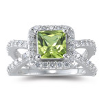 3/4 Cts Diamond & 1.56 Ct 7 mm AA Princess Peridot Ring in 14KW Gold