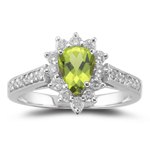 0.44 Cts Diamond & 0.70 Cts Peridot Ring in 18K White Gold