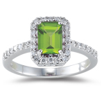 0.26 Cts Diamond & 1.00 Cts AAA Peridot Ring in 18K White Gold